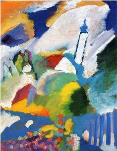 """Vasilij Kandinskij """"Murnau with a church"""" 1910 Oil on canvas,Städtische Galerie im Lenbachhaus, Munich, German"""