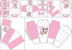 Minnie First Year Party with Polka Dots: Free Printable Boxes.