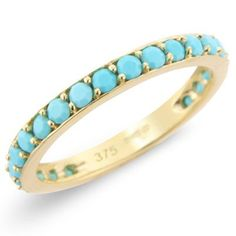 9ct Yellow Gold Full Eternity Turquoise Ring