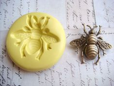BUMBLE BEE (size medium) - Flexible Silicone Mold - Push Mold, Jewelry Mold, Polymer Clay Mold, Resin Mold, Craft Mold, Food Mold, PMC Mold. $5.99, via Etsy.