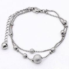 Silvery-Nickel-Free-Dangle-Flower-Charms-Link-Chain-Bracelet-Girl-Bangle-Gift