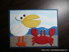 A day at the beach punch art. Has instructions for the punched pelican and crab and also to make the entire card.