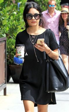 On-the-go gal Vanessa Hudgens flaunted chunky black cat-eye sunnies while running errands in Beverly Hills!