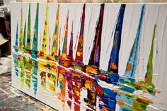 Yellow Sailboats  Size: 48x24 thick  Medium: Acrylic on gallery-wrapped stretched canvas, palette knife  Colorful textured painting.  This colorful sailboats painting was painted on a staples free sides canvas with a palette knife. It is ready to hang. This gorgeous painting was painted on a stretched wrapped canvas in my studio. The painting was created with great quality paints and materials. It was coated with varnish to protect the colors for extended time and to ensure durability and…