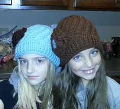 The girls modeling their Crochet Divine Spiral hats made with Free Pattern