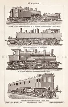 Vintage Train Printable Transportation Illustration 1800s Antique Print Digital Image Clip Art Retro Trains Drawing Instant Download ZS