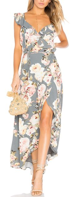 Gorgeous grey floral maxi dress