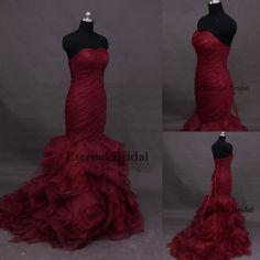 Vestidos De Noiva Mermaid Royal Train Deep Red Sweetheart Long Floor-Length Flowers Pleat Tiered Sexy Wedding Dresses 2014 $228.96