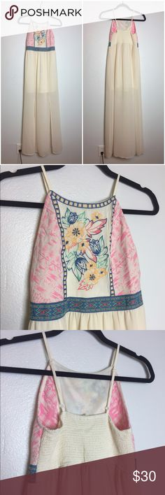 Embroidered Maxi Dress Worn once for a bridal shower. Adjustable straps. Stretches in the back to fit your chest. Great dress for festivals. Price is negotiable. Altar'd State Dresses Maxi