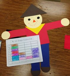 Here are our 2D scarecrows made out of: triangles, circles, squares, and rectangles. We filled out a graph to show how many we used of each shape to make our scarecrow. We also wrote which shape was used the most and which shape was used the least.
