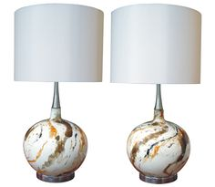 a stylish & large-scaled pair of american 1960's lustre-glazed porcelain orb-form lamps with abstract design, circa 1960 from @Epoca San Francisco in San Francisco http://eepurl.com/FSHJ9 and http://epocasf.com/tearsheet.aspx?epitemnumber=3788