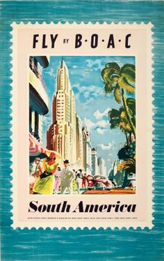 BOAC South America 1952 - original vintage poster by Xenia listed on AntikBar.co.uk
