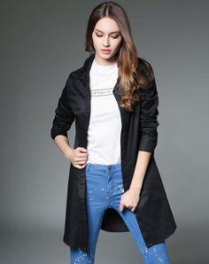 #VIPme (VIPSHOP Global) - #GUSTAVO ARANGO Black Plain Lapel Mid-Length Shirt - AdoreWe.com