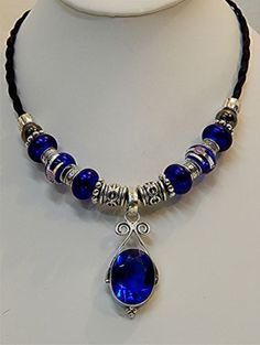 Western HorseHair Necklace with Blue Quartz Pendant & Murano Beads $44.99 Free shipping Made in USA  GREAT CHRISTMAS GIFT!