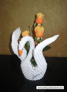 3D Origami Winged Swan with Flowers by jchau on DeviantArt