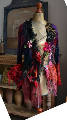 Beautiful Velvet/Plush Jacket by Paulina722 Art to Wear Shabby Chic Silk Lace Ribbon Colorful Boho Top