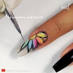 Nail Art Hacks, Nail Art Diy, New Nail Art, Nail Art Designs Videos, Nail Art Videos, Best Nail Designs, Rainbow Nail Art Designs, Beautiful Nail Designs, Beautiful Nail Art