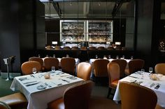Carmel leather, mirrors and black walls make for a sumptuous seduction of the senses at Spruce in San Francisco (and the foods pretty damn good as well.)