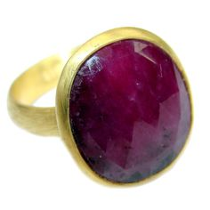 Energazing Ruby 18 ct Gold over .925 Sterling Silver ring; s. 7 adjustable