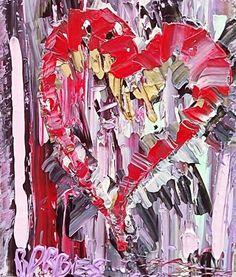 """Peinture contemporaine acrylique sur toile """"HEART OCTOBRE ROSE"""" : Peintures par borbes"""