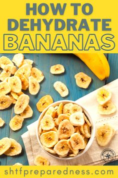 Learning how to dehydrate bananas is easy and a very useful skill! Dehydrated Bananas, Dehydrated Food, Banana Health Benefits, Long Term Food Storage, Banana Chips, Dehydrator Recipes, Bug Out Bag, Tropical Fruits, Food Waste