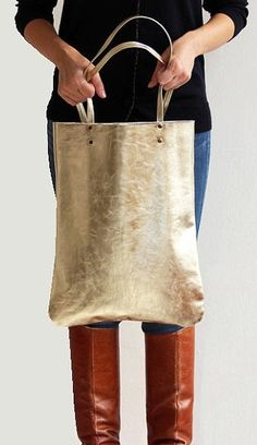 gold leather tote