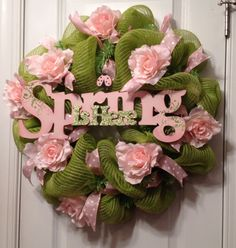 Olive Green and Pink Spring Mesh Wreath