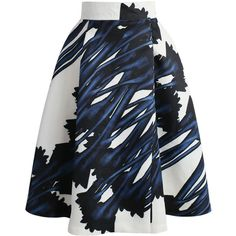 Chicwish Abstract Watercolor Printed A-line Skirt (2.290 RUB) ❤ liked on Polyvore featuring skirts, blue, blue a line skirt, a-line skirt, blue skirt, frilly skirt and blue slip