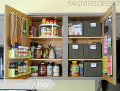 The solution? She used the doors for storage (hello, adorable spice rack) to freeup shelf space and make roomfor containers with labels for thingslike snacks, baking supplies, and teas. See more at Jenna Burger Design »