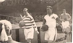 Belfast Celtic 2 Celtic 3 in May 1952 in Belfast. The captains, Jackie Vernon and Charlie Tully come out for the friendly. Celtic Fc, Glasgow, Belfast, Vernon