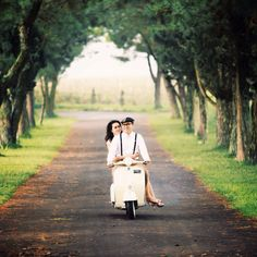 My vintage prewedding with lovely girl and vespa