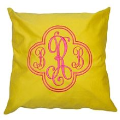 Monogrammed Yellow Cotton Throw Pillow from The Monogram Merchant