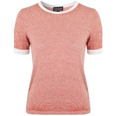 Topshop Burnout Ringer Tee ($28) ❤ liked on Polyvore featuring tops, t-shirts, crewneck t shirt, red t shirt, see through tops, red tee and short sleeve tee