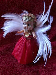 Vintage Christmas Tree Fairy Decoration - Celluloid Flapper Kewpie Doll Christmas Tree Fairy, Red Christmas, Christmas Tree Ornaments, Vintage Christmas, Victorian Angels, Carnival, Kewpie Doll, Dolls, Joy