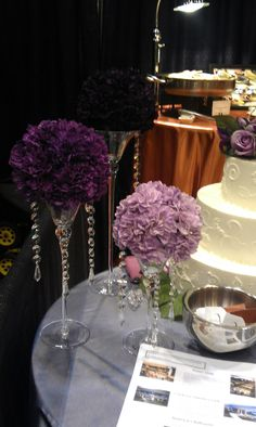 Simple centerpieces with crystal