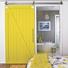 Love these interior sliding barn doors. Not quite sure where I could implement this design element in my little cottage? This is a room in the Southern Living Idea Homes 2009 Texas interior home design inspiration Yellow Doors, Doors, Home, Barn Style Doors, House Design, Sweet Home, Yellow Decor, House Interior, Doors Interior