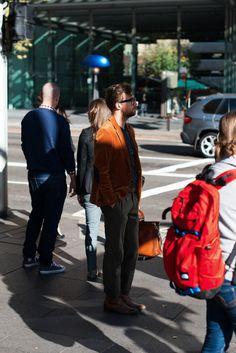http://chicerman.com  meninthistown:  Autumn velvet.  #streetstyleformen