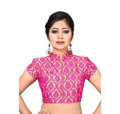 close neck designer ready made blouse / crop top with zipper