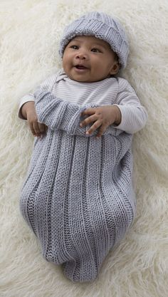 Free Knitting Pattern for Comfy Baby Cocoon and Cap - Easy stretchy ribbed sleep sack with matching hat by Kim Kotary