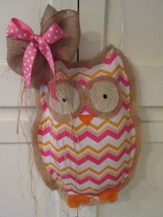 Owl Burlap Door Hanger Door Decoration Chevron by nursejeanneg, $32.00