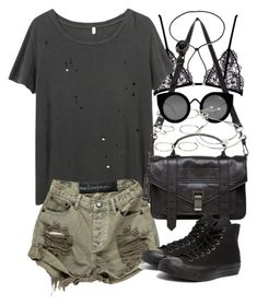 """Outfit for summer with khaki shorts"" by ferned ❤ liked on Polyvore featuring R13, Proenza Schouler, Converse, Lanvin, Forever 21, Quay and Michael Kors"