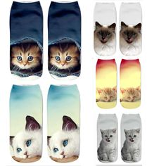 Mens athletic low cut Ankle sock Sweater Holiday Kitten Cats Short Fit Sock