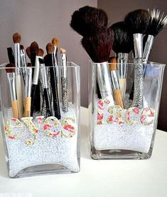 7 DIY Make up Storage Ideas. I like the beads, magnet and roll up bag.