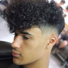 Low Fade with Curly Hair Fringe