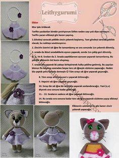 Elbise tarifi Crochet Doll Pattern, Crochet Dolls, Crochet Baby, Knit Crochet, Crochet Patterns, Fabric Toys, Amigurumi Toys, Crochet Animals, Handmade Toys