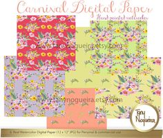 Watercolor floral Digital Paper hand painted by TanyNogueira