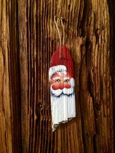 Rustic red driftwood Santa  beach tree ornament free ship by mypaintinplace on Etsy https://www.etsy.com/listing/210316368/rustic-red-driftwood-santa-beach-tree