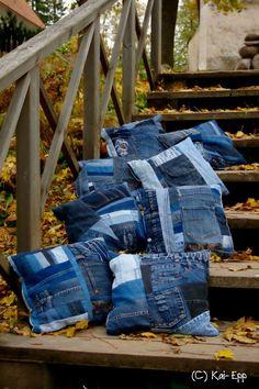 подушки лоскутные из джинсов