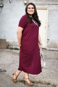 Curvy High Neck Trapeze Dress In Berry - My Sisters Closet