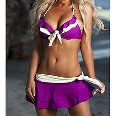 Mujeres Halter Arcos Bikini con falda - USD $ 21.59